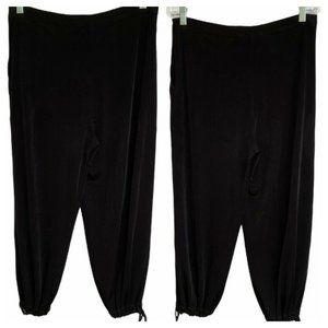 Chico's Travelers Crop Pants Zip Black Tie Cuffs M